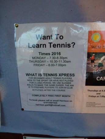 Thursday 11-02-16. Got the tennis details, start on Friday.
