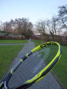 Wednesday 24-02-16. Mum and I practicing tennis in the park.