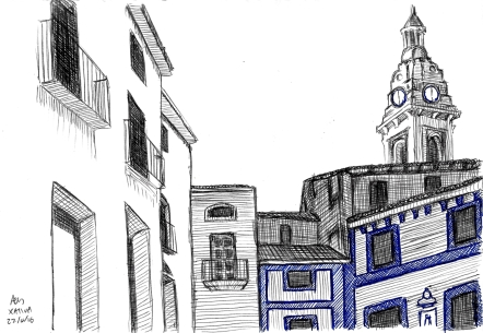 Friday 22-04-16. A pen, line sketch of some building in Xativa in Spain. A combination of gel pen and biro, based on a photo I took.