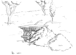 Sunday 24-04-16. A line sketch of the garden in biro. This is the view from the breakfast table.