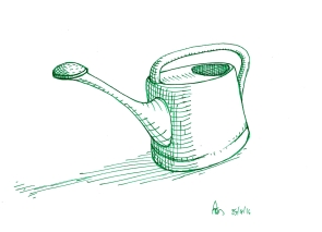 Monday 25-04-16. A watering can in green gel pen. I've spent a lot of time in the garden this trip.