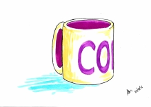 Thursday 28-04-16. A coffee mug, I just realised I hadn't had any coffee all day. Note the use of pens just because I can.