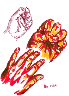 Friday 29-0416. Hands practice using pens, simply because I'm home and I have pens again.