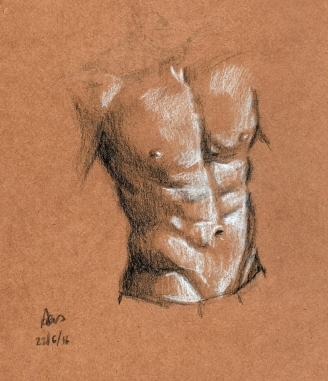 Wednesday 22-06-16. Torso sketch in black and white pencil. Enjoying the tanned paper again.
