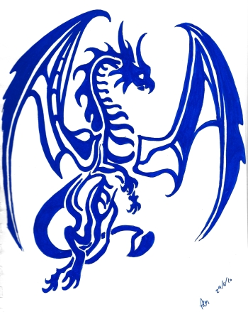 Wednesday 29-06-16. A dragon in blue Posca pen.